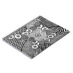 Notizblock/Tagebuch mit Zentangle Spiral Notizbücher Zentangle, Diary Book, Zentangle Patterns, Zentangles