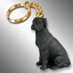 Great Dane Black Pet Dog Breed Keychain Ring Holder