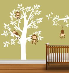 Nursery Tree Decal Monkeys Vinyl Wall Stickers Tree Branch Boys or Girls. $99.99, via Etsy.