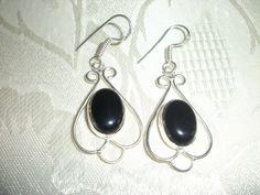 Beautiful Onyx Black Stone .925 Sterling Silver Dangle earrings Handmade $9.99