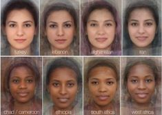 Meet the world's Mrs Averages: Turkey, Lebanon, Afghanistan, Iran, Chad/Cameroon, Ethiopia, South Africa, West Africa. (experimental psychologists at the University of Glasgow blend thousands of faces together to reveal what the typical woman's face looks like in 41 different countries from around the globe)
