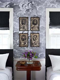 The Power of Wallpaper | Philip Gorrivan in House Beautiful, Fornasetti Nuvolette wallpaper