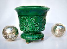 Vintage pedestal vase // bulb vase // emerald green cherubs. $28.00, via Etsy.