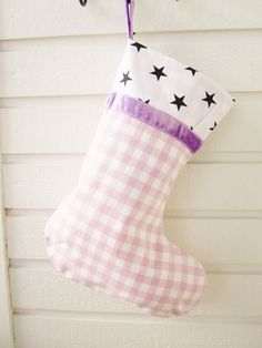 Stocking Christmas Holiday large lilac white checked by poppyshome