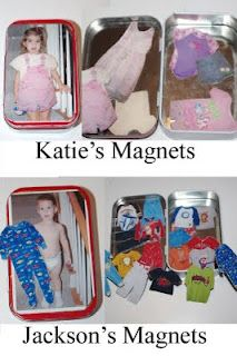 Altoid tin magnet dolls- Use photo of child to make it more personal