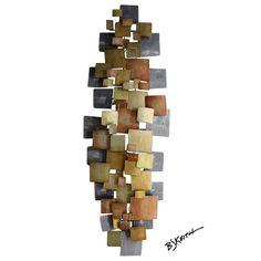B J Keith Designer Metal Wall Art Of Squares In Copper Gunmetal Bronze And…