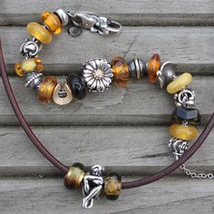 My finished 'dream bracelet' - trollbeads amber!