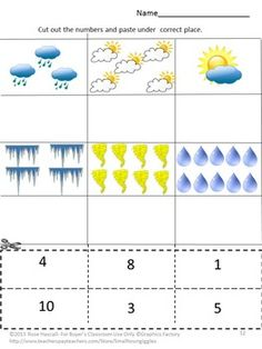 This no prep weather packet works well for preschool, kindergarten, special education or autism students. They will practice visual discrimination, upper case-lower case letter matching, number matching, sequencing, counting and reading number words, letter tracing and other fine motor skills.