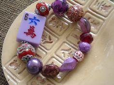 Mahjong Bracelet - Jesse James Beaded Mahjong - Purple Mahjong - Oriental Jewelry - Mahjong Gift - Gift Idea - Red Hat Jewelry by MahjongJewelry on Etsy