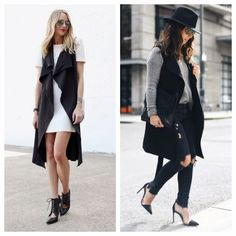 Black sleeveless TRENCH COAT size Large basic LBD Amazing for any outfit, first and fourth photos are for styling. Second and third photos are of the actual item, this one for sale is black. Very lightweight, easy to throw on and dress up! Jackets & Coats Trench Coats