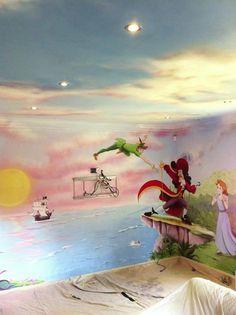 69 Ideas wall art diy beach sea shells for 2019 Disney Wall Murals, Kids Wall Murals, Murals For Kids, Disney Baby Rooms, Castle Mural, Mural Cafe, Mural Painting, Disney Art, Peter Pan