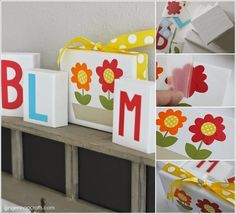 Craft these Bloom Spring Blocks with Wooden Blocks and Vinyl Decals