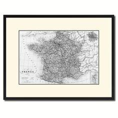 France Paris Vintage B&W Map Canvas Print, Picture Frame Home Decor Wall Art Gift Ideas