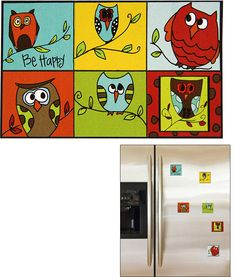 Happy Owl Magnets - Set of 6 at The Rainforest Site
