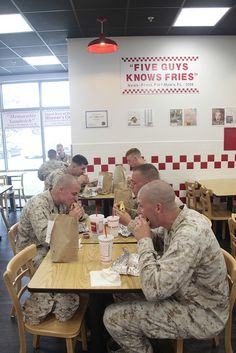 MARINE CORPS AIR STATION CHERRY POINT, N.C.  Marines, Sailors and civilians eat at the opening of Five Guys July 30, at Marine Corps Air Station Cherry Point, N.C. Love this! My dad will be so jealous to know they didnt have this place when he was stationed here haha! #Recipes