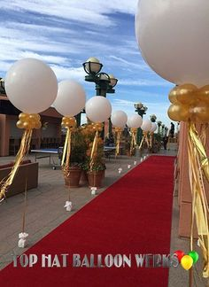 Big Balloon Decor in Gold. Royal wedding decor at its finest.