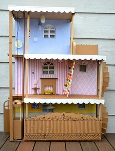 Awesome Barbie house made out of cardboard!