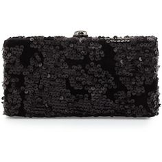 Deux Lux Sequin and Velvet Box Evening Clutch Bag ($42) ❤ liked on Polyvore featuring bags, handbags, clutches, black, evening purse, special occasion handbags, evening handbags, sequin purse and black evening handbags