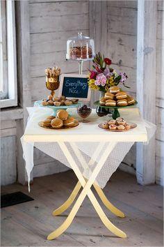 quaint dessert station #vintage #caketable #weddingchicks http://www.weddingchicks.com/2014/04/10/new-england-wedding-venue/