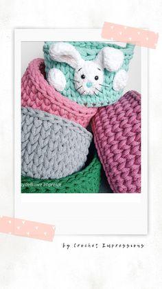 Crochet Baskets, Crochet Hats, Easter 2021, Easter Crochet, Easter Baskets, Handmade Rugs, Easter Bunny, Etsy, Vintage