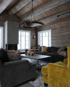 Mountain Cottage, Lakeside Cottage, Modern Log Cabins, Grey Wood Floors, Lodge Style, Cottage Interiors, Dere, Living Room Grey, Living Room Inspiration