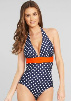 Figleaves Tuscany Spot shaping suit in navy and cream