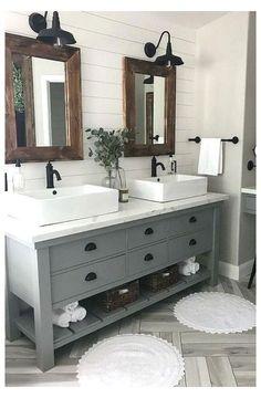 Upstairs Bathrooms, Dream Bathrooms, Beautiful Bathrooms, Master Bathrooms, Master Baths, Shiplap Master Bathroom, Small Bathroom Vanities, Bathroom Renos, Simple Bathroom
