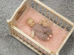 1:12 scale miniature baby created by Karen's Mini Bears - for sale at Ebay