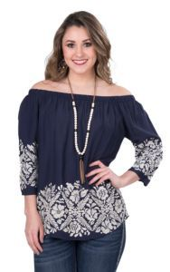 Renee C. Women's Navy with Cream Embroidery and 3/4 Sleeve Fashion Top | Cavender's