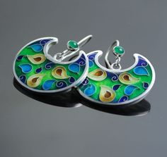 """Cuento"" Cloisonne Enamel with Green Onyx Sterling Silver Earrings by 'agoraart' on Etsy★❤★"