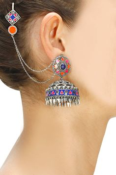 Silver oxidized multicolour enamel floral jhumkis available only at Pernia's Pop-Up Shop.