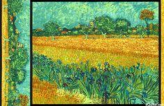 "Vincent van Gogh - Field with Irises - 24"" x 44"" PANEL"