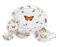 """Breakfast tea set """"Flowers and insects"""""""