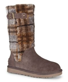 Treat those feet to some luxurious R&R! Lined and cuffed in plush, plaid sheepskin, these classic UGG® boots offer pampering warmth with a moisture-managing twist. A convenient side zipper secures the fit with ease, while a springy foam footbed ensures soft support with every indulgent step. 11.5'' shaftMedial zipper closure