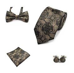 JEMYGINS 4PCS Tie Set Men Bow Tie and Handkerchief Bowtie Cufflinks 8cm Necktie 100% Silk Ties