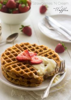 Whole Wheat Strawberries N' Cream Waffles - THE BEST waffles you will EVER eat | Foodfaithfitness.com || #breakfast #waffles #recipe