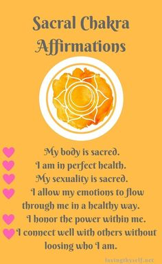 Try these affirmations daily to balance your sacral chakra! this is so important for your health and preventing and illness in the future. #mind #body #soul #affirmations #help #chakra #quotes #reminder #heal #love #yourself Wonder how to balance the rest