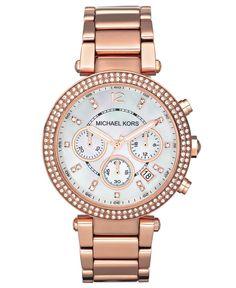 Michael Kors Women's Chronograph Parker Rose Gold-Tone Stainless Steel Bracelet Watch 39mm MK5491