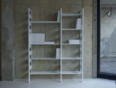 Parallel is a component shelving system made from pressed steel with either a matt white or rust powder-coated finish. Each shelving unit is made up from two co Modular Shelving, Shelving Systems, Cupboard Shelves, Storage Shelves, Cupboards, Storage Ideas, Low Back Sofa, Large Shelves, Scp
