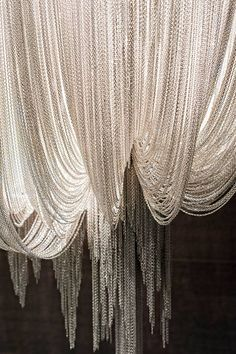 Modern Art Silver Chain Cloth LED Pendant Lamp - All About Decoration Pendant Lamp, Pendant Lighting, Shimmer Lights, Beaded Curtains, Interiores Design, Chandeliers, Wall Lights, House Design, Inspiration