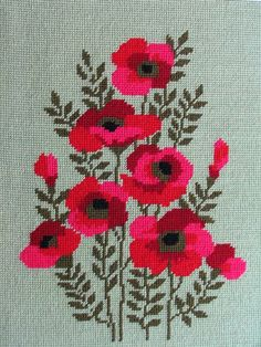 thrfted poppie needlepoint