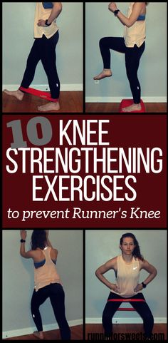 These 10 knee strengthening exercises for runners are essential for treating knee pain and runners knee! Try these exercises at home to quickly recover and gain strength. Add these 4 running stretches for the ultimate routine to prevent knee pain. Knee Strengthening Exercises, Exercises For Knees, Arm Exercises, Fitness Exercises, Exercise For Bad Knees, Exercises For Arthritic Knees, Knee Arthritis Exercises, Stomach Exercises, Training Exercises