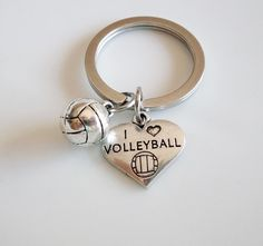 Volleyball keychain I love volleyball by MemorableCharms on Etsy