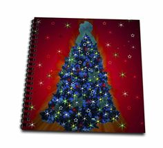 Dawn Gagnon Photography Holiday Designs - Sparkling Christams Tree Red, A lovely colorful Christmas tree with red background - Memory Book 12 x 12 inch (db_153668_2) * Be sure to check out this awesome product.