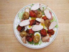 Chicken-Potato & Tomato Salad (Small)-compressed Chicken Potatoes, Chicken Bacon, Roasted Potatoes, Smoky Bacon, Bacon Salad, Slimming Recipes, Tomato Salad, 2 Ingredients, Slimming World