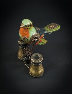 Songbirds by Mullanium. Mixed media and found objects - no two are alike!