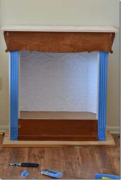 bookcase to faux fireplace with chimney tutorial