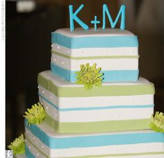 Turquiose & lime green wedding cake. I don't like this cake a whole lot, personally, but I love the colors!