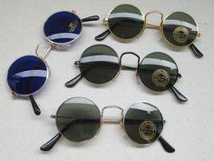 1 lot : 4 x Lunettes de soleil rondes style seventies 70s 70 Set 1 bleues Retro