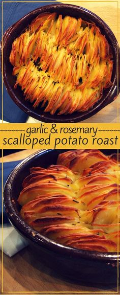 Garlic & rosemary scalloped potato roast So easy, and so impressive! Delicious garlic & rosemary scalloped potato roast is fancy enough for friends, and simple enough for every day. Vegetable Recipes, Vegetarian Recipes, Cooking Recipes, Healthy Recipes, Roast Recipes, Cooking Tips, Simple Recipes, Healthy Food, Healthy Eating